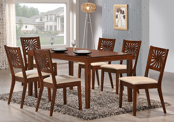 SF DT8558 Mola Dining Table  <br>SF DC9228 Roford Dining Chair 1+6
