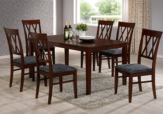 SF DT8118(8F-SK) Macra Dining Table  <br>SF DC8118 Macra Dining Chair 1+6