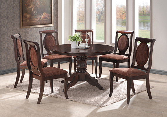 SF RDT8888(1200XCO18) Acona Round Dining Table <br>SF DC255 Astana Dining Chair